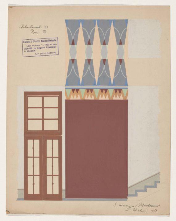 Taiteilija Fritz Hilbertin porrastilan koristemaalaussuunnitelma