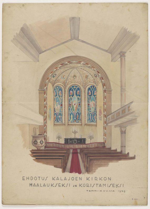 Taitelija Fritz Hilbertin Kalajoen kirkon koristemaalaussuunnitelma