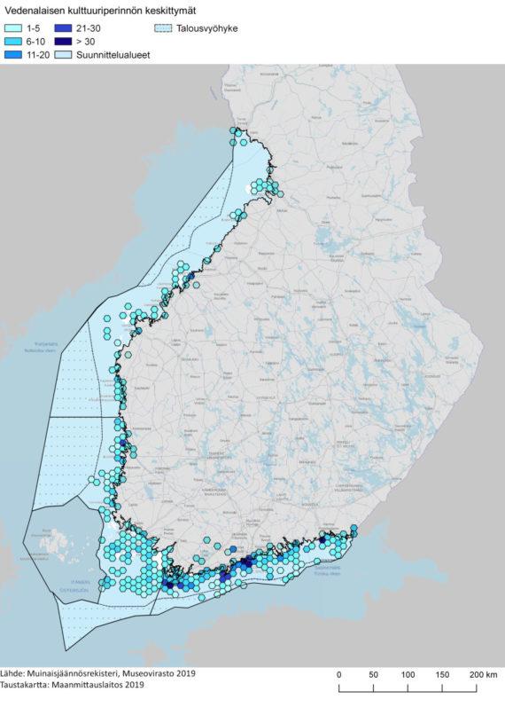 Vedenalaisen kulttuuriperinnön keskittymät kartalla